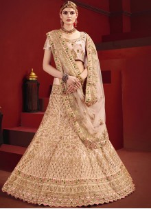Zari Pink Satin Designer Lehenga Choli