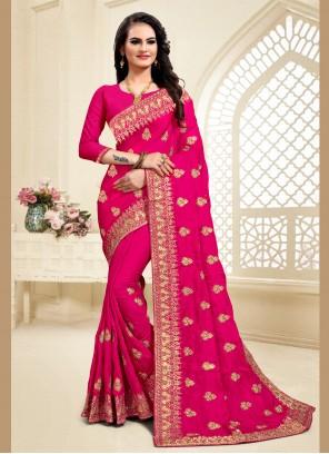 Zari Pink Satin Silk Designer Saree
