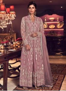 Zari Purple Net Palazzo Designer Salwar Kameez