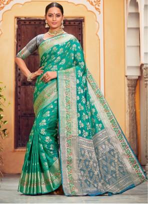 Banarasi Silk Zari Rama Classic Saree