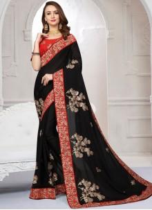 Black Zari Satin Designer Saree