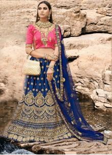 Zari Silk A Line Lehenga Choli in Blue