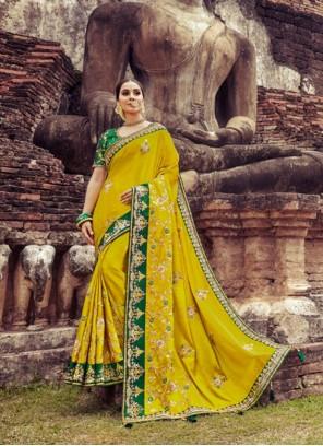 Zari Silk Yellow Designer Saree