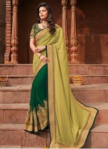Zari Silk Green Half N Half Saree