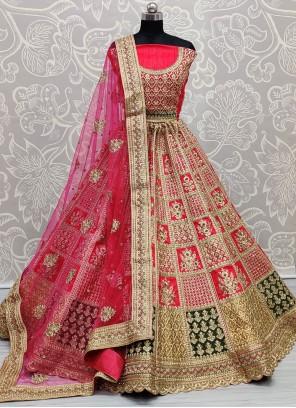 Pink Zari Silk Lehenga Choli