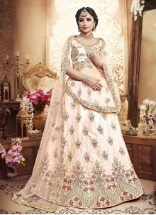 Zari Silk Lehenga Choli in Peach