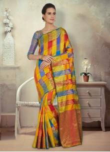 Multi Colour Zari Silk Saree