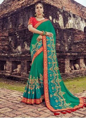 Zari Silk Traditional Saree in Teal