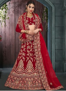 Zari Velvet Designer Lehenga Choli in Red