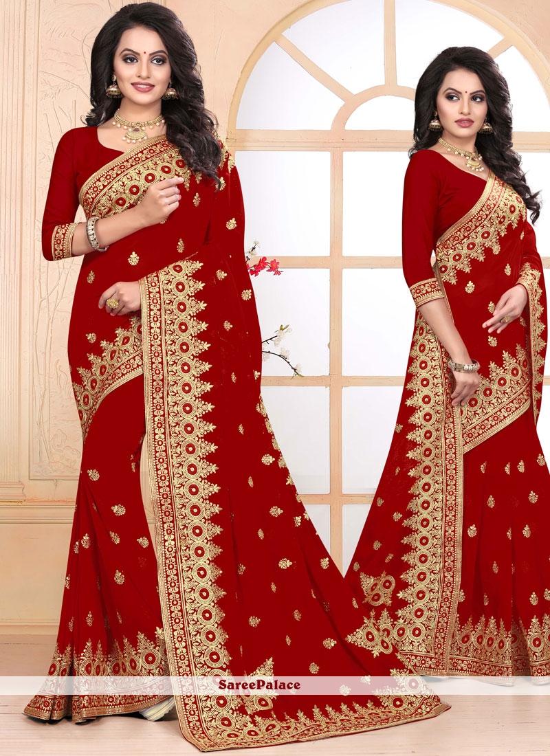 Red Zari Wedding Designer Saree