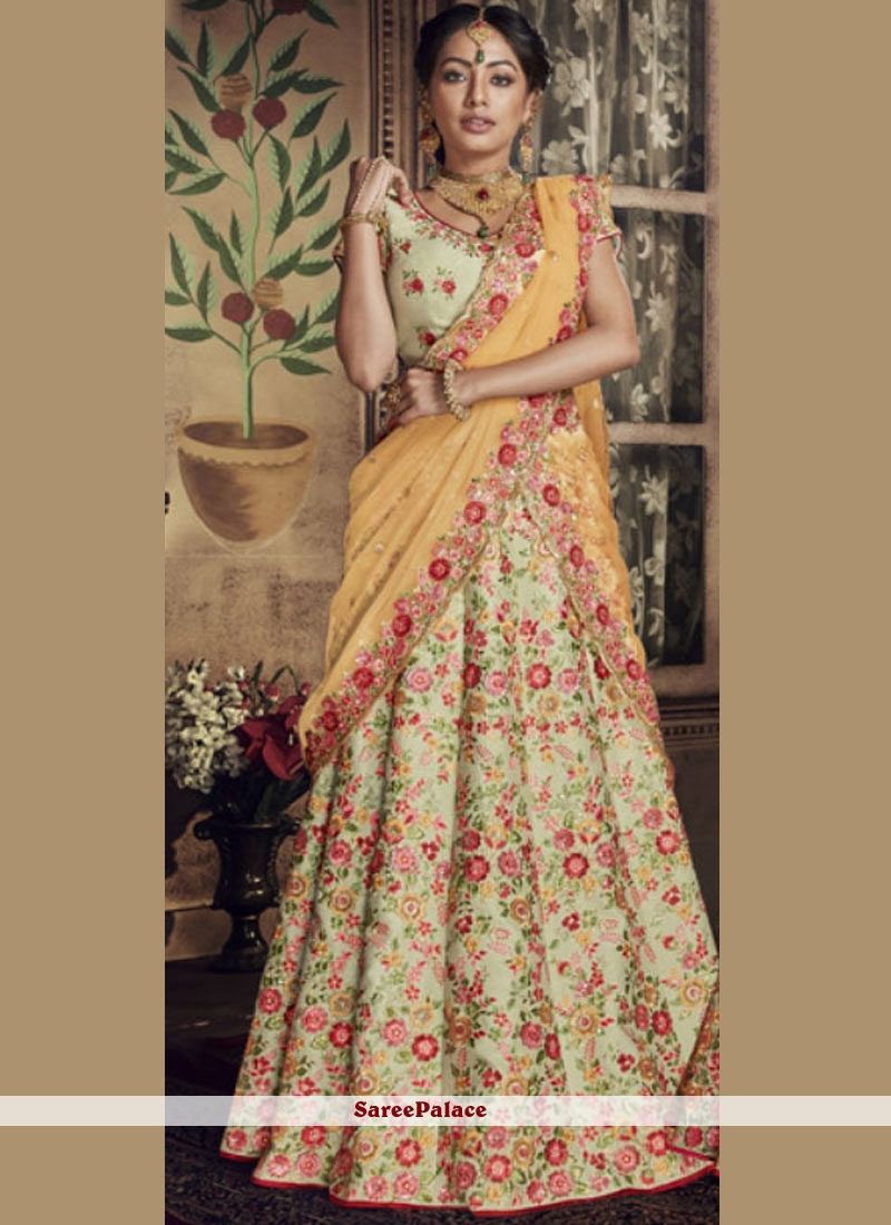 1897dff4c7 Buy Green Zari Wedding Lehenga Choli Online