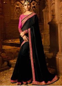 Black Zari Work Silk Trendy Saree