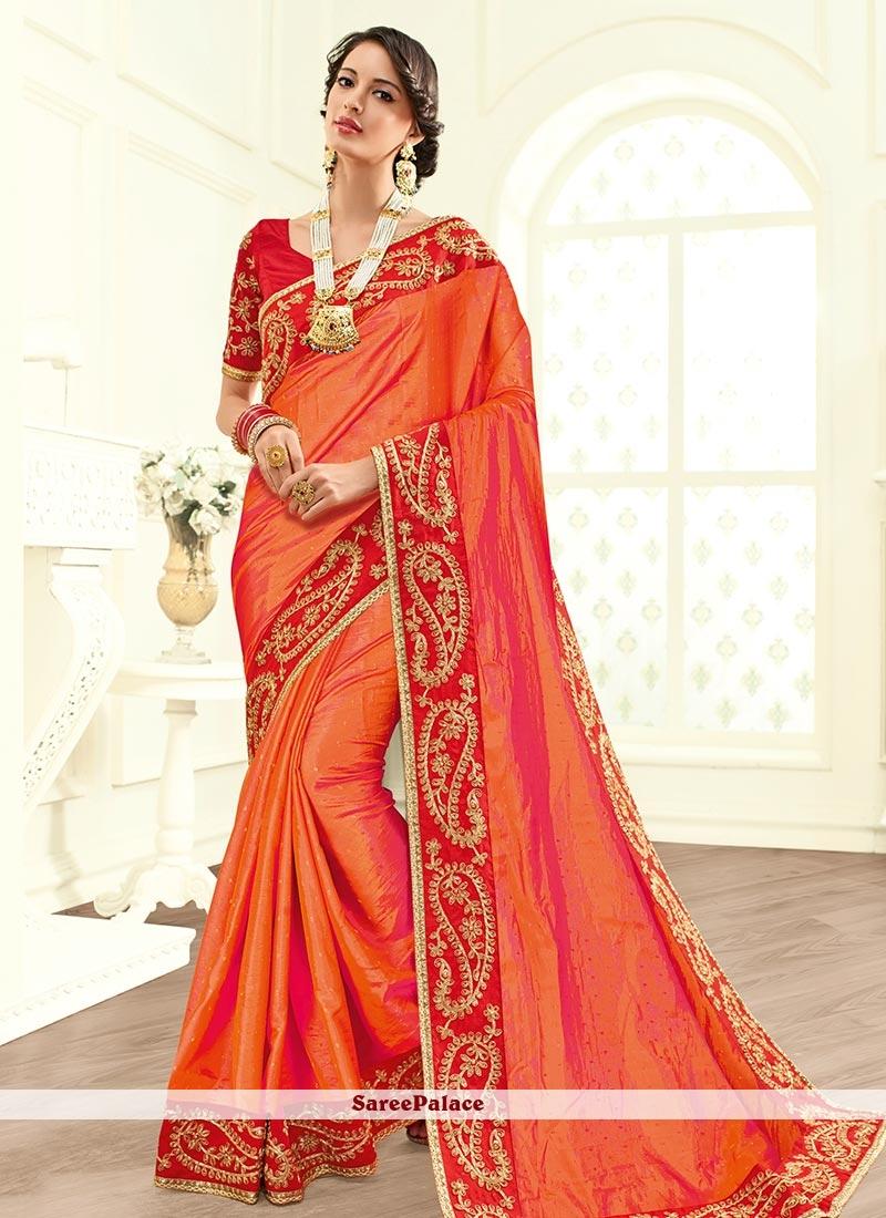 Zesty Faux Georgette Orange Embroidered Work Classic Saree
