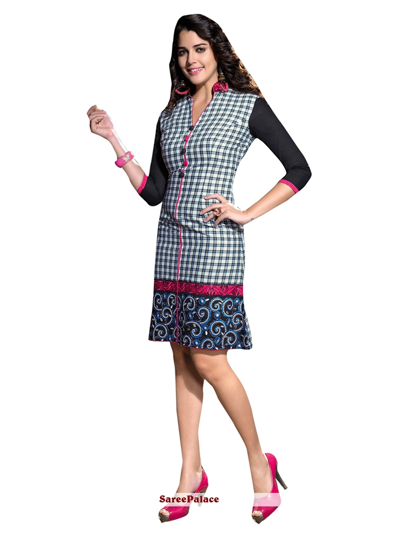 Zesty Linen Embroidered Work Party Wear Kurti