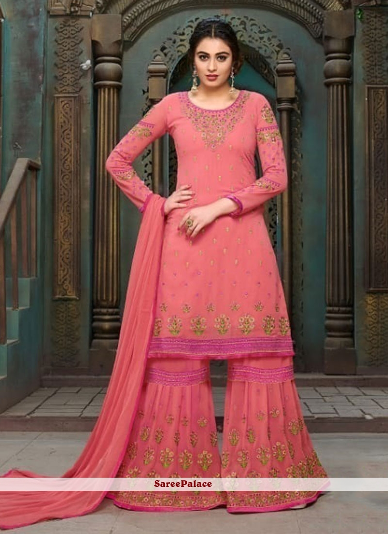 b91ba30a68 Buy Zesty Pink Embroidered Work Faux Georgette Designer Pakistani Suit  Online