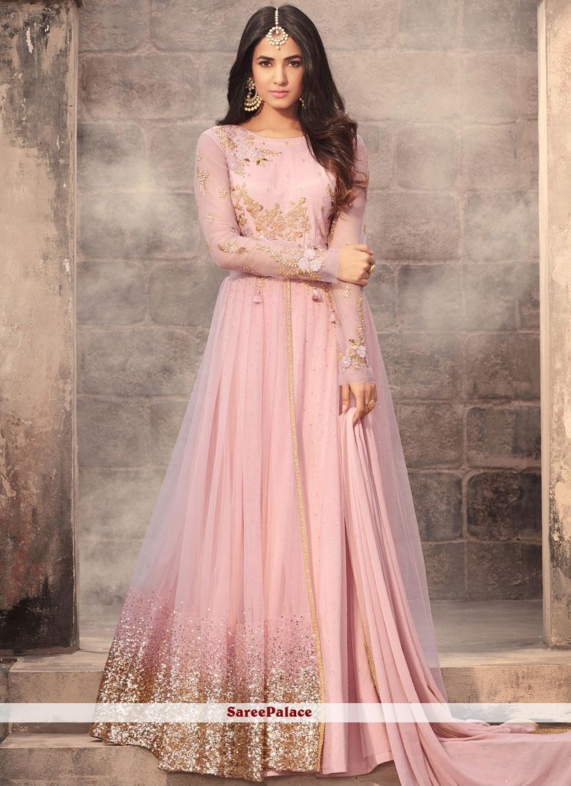 Zesty Pink Net Anarkali Salwar Kameez