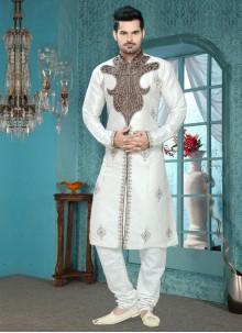 Zesty White Embroidered Work Art Silk Kurta Pyjama