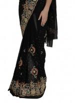 Zircon Work Black Classic Designer Saree